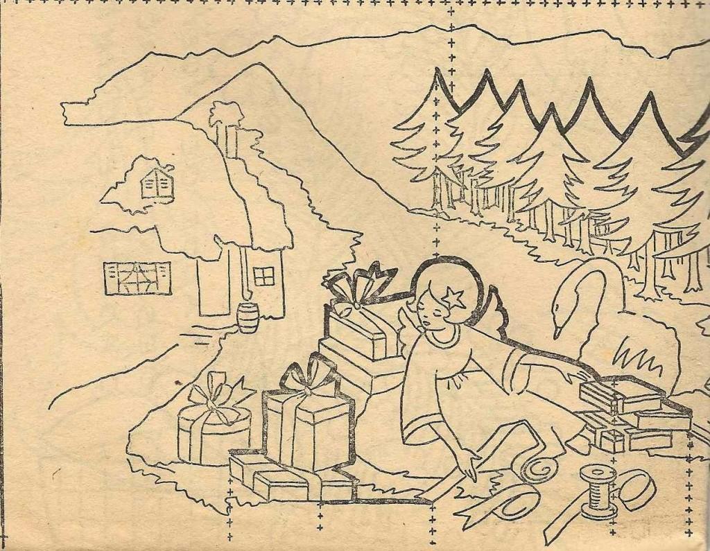 Carte de Noël, l'ange et le cygne dans Broderie carte-scene-de-noel-1950s